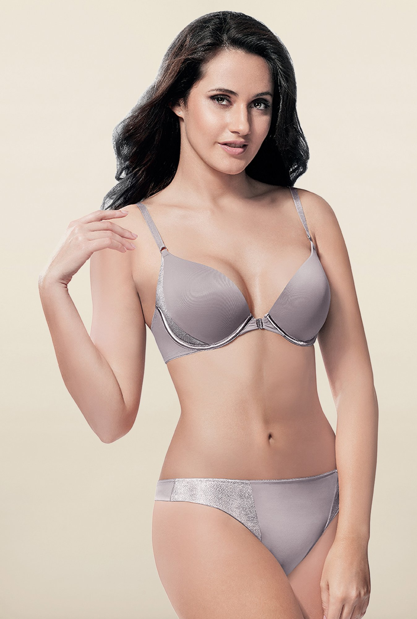 Amante Opal Grey Full Coverage Embellished Bra