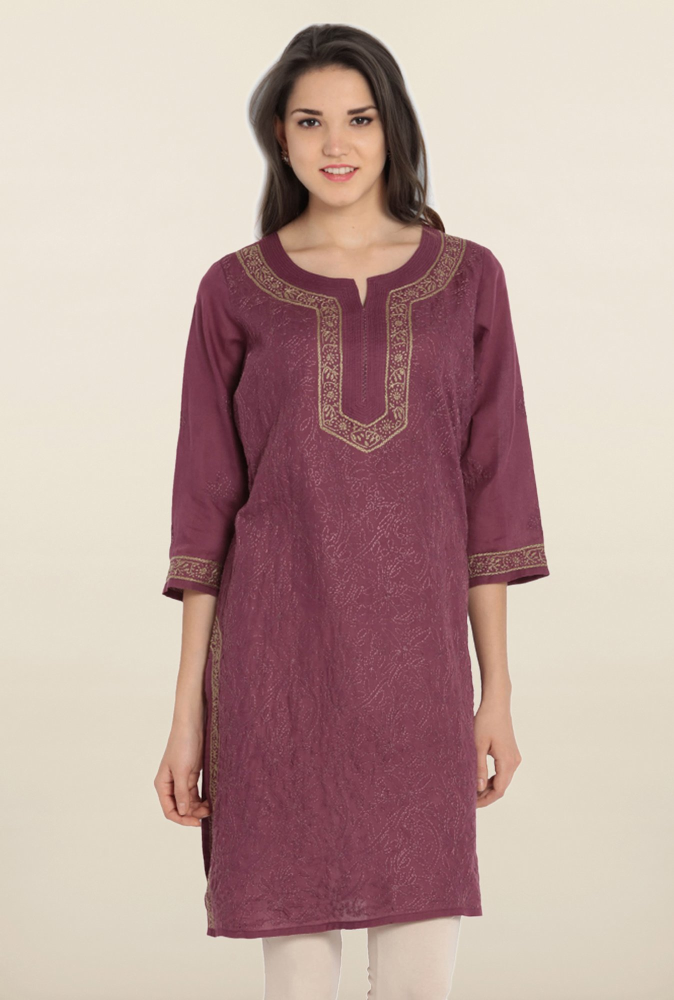 Soch Wine Embroidered Cotton Kurta