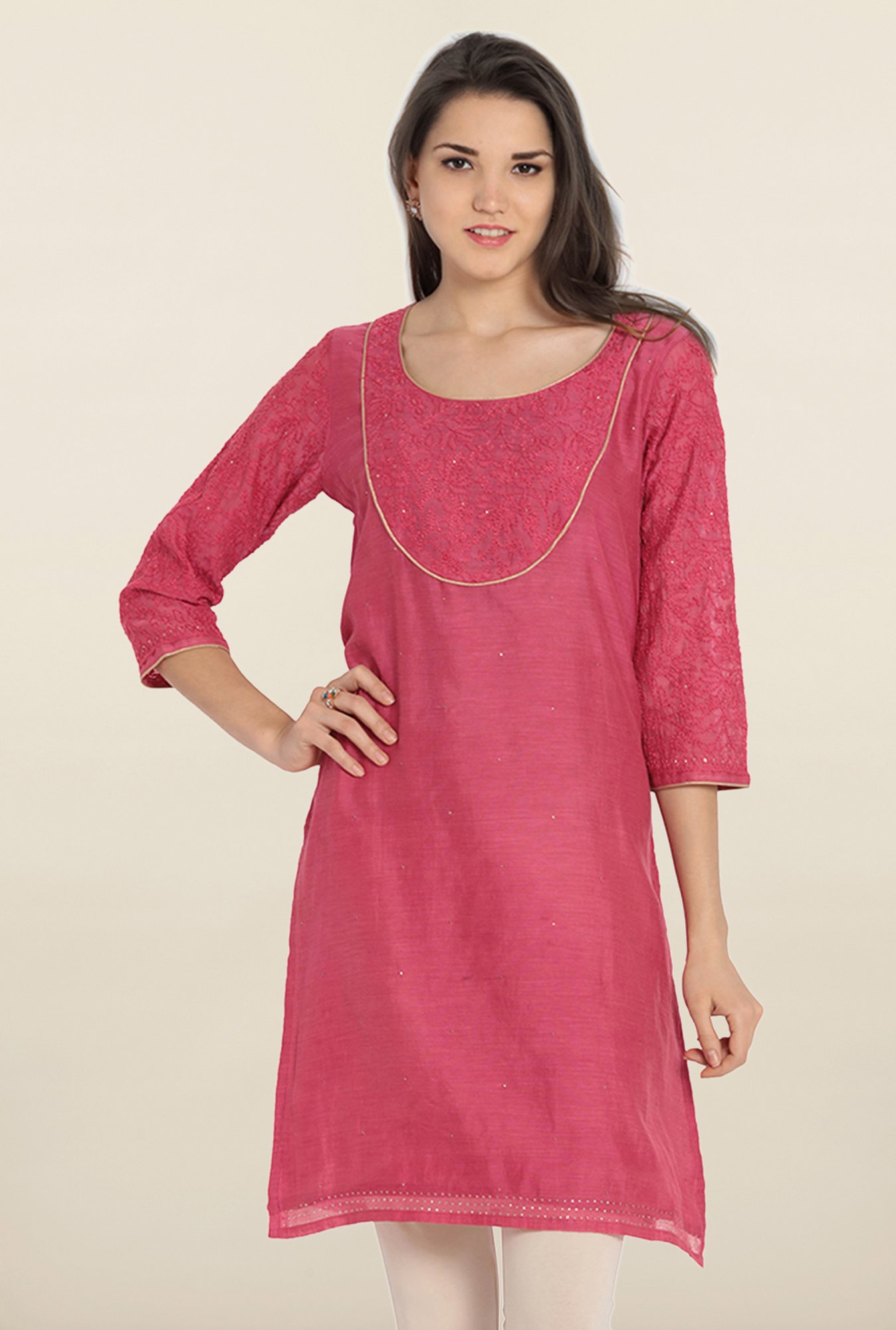 Soch Pink Embroidered Cotton Kurta