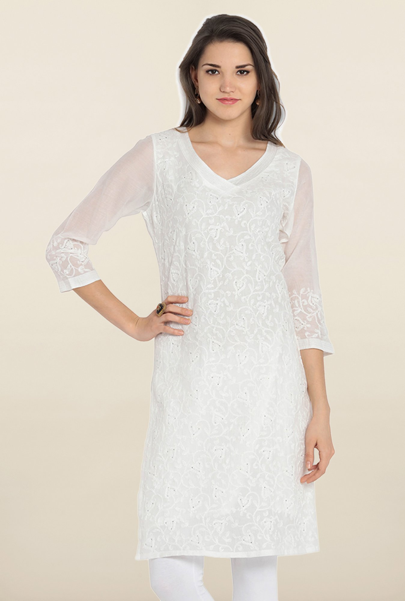 Soch White Embroidered Cotton Kurta