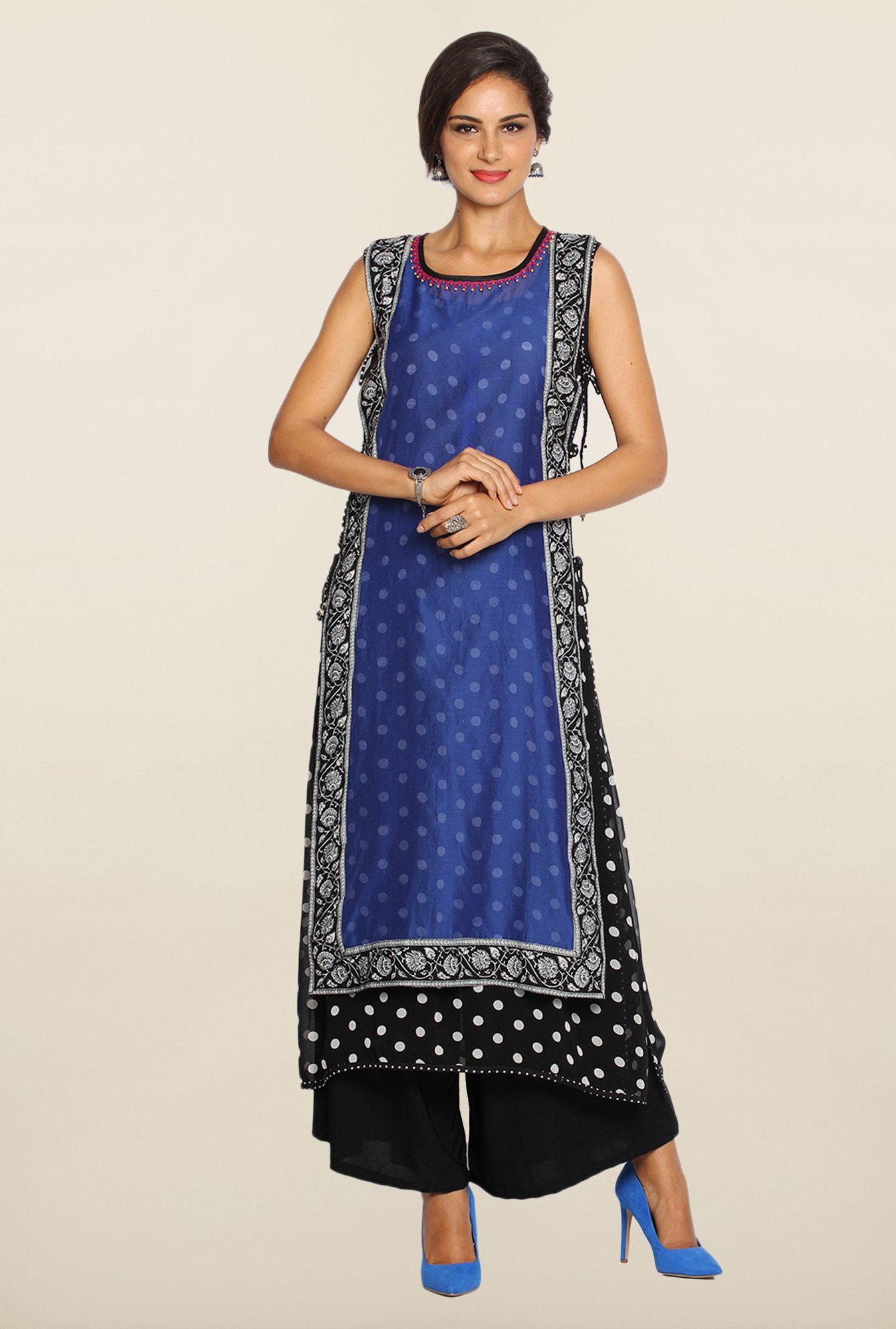 Soch Blue & Black Chanderi Silk Kurta Suit Set