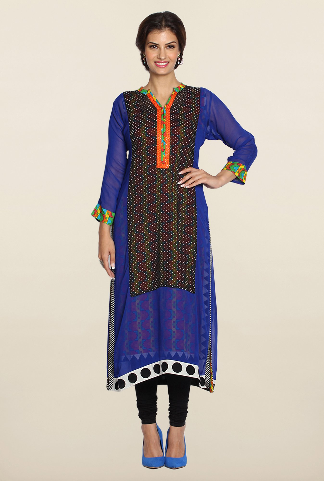 Soch Blue & Black Georgette Kurta Suit Set