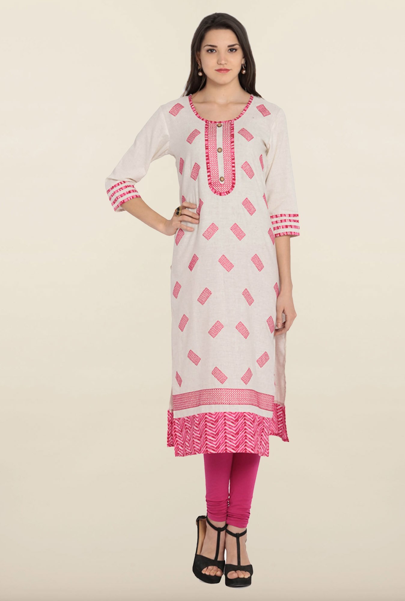 Soch White & Pink Embroidered Khadi Kurta