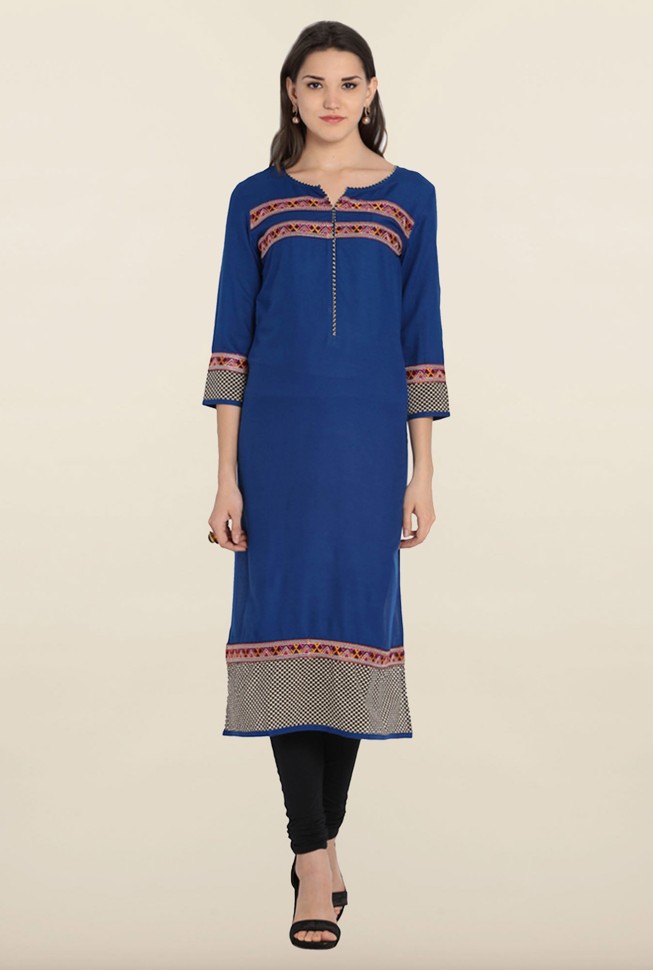 Soch Royal Blue & Beige Printed Kurta