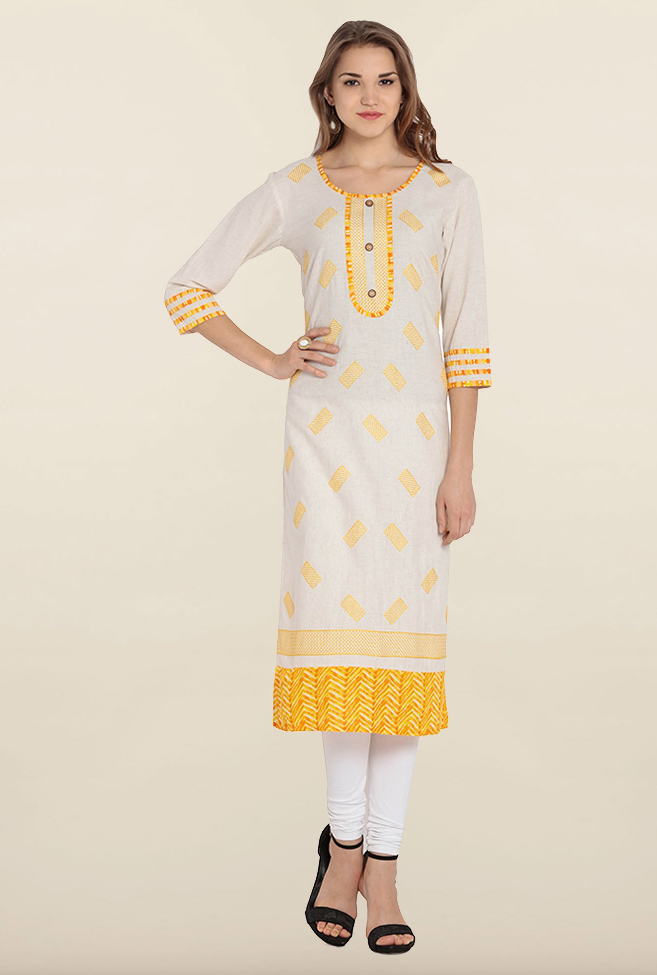 Soch Beige & Yellow Embroidered Khadi Kurta