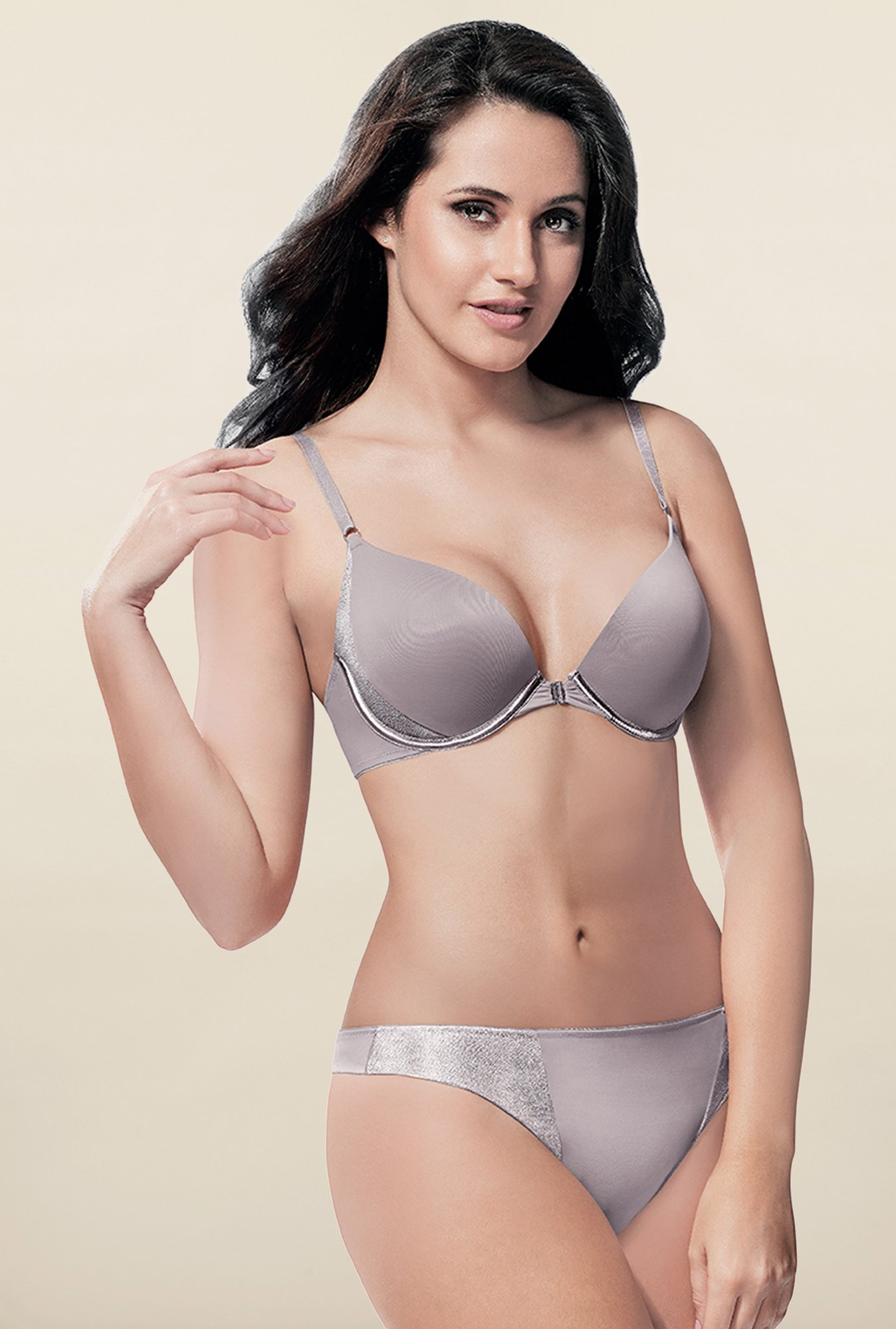 Amante Opal Grey Low Rise Thong