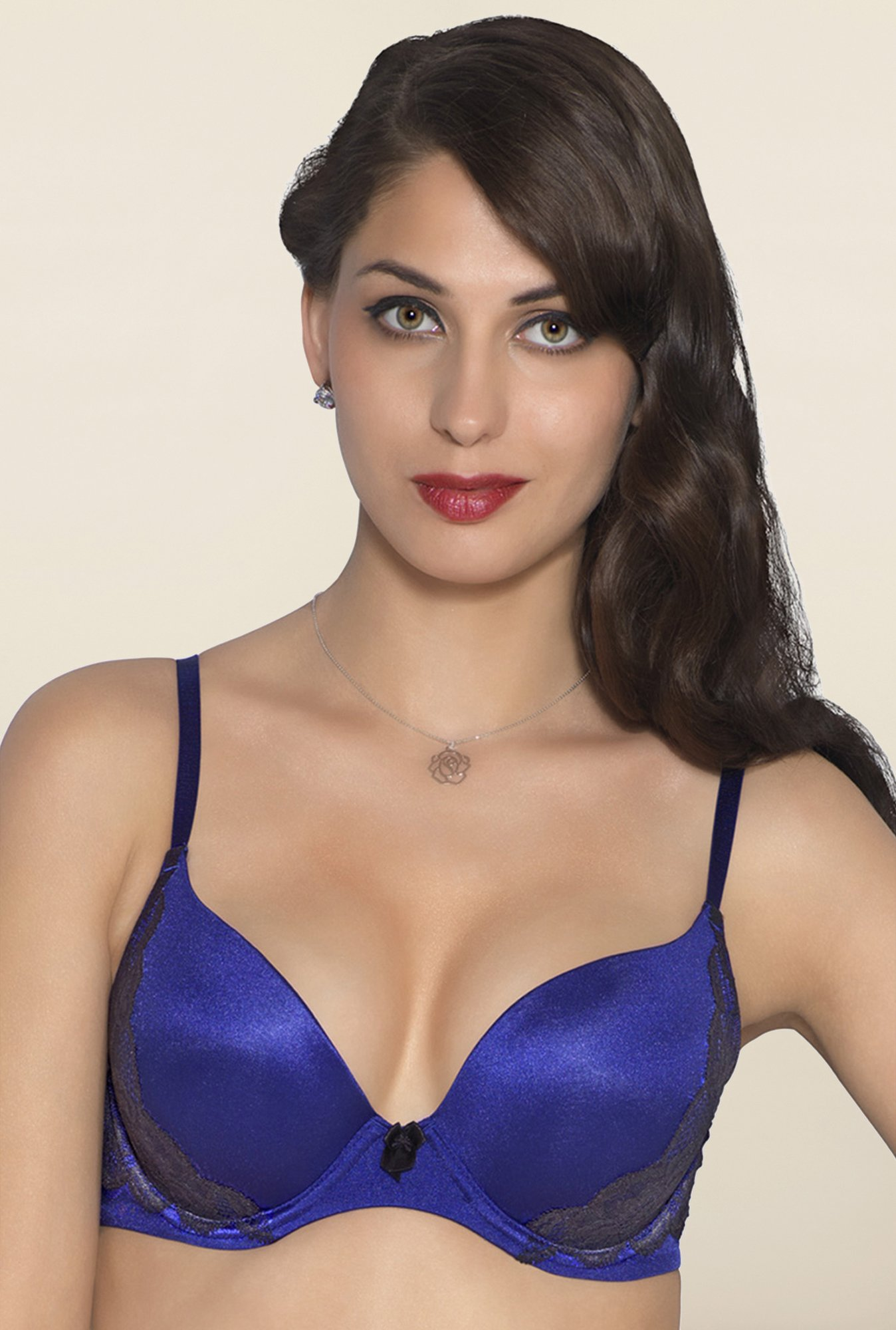 Amante Blue Lace Padded Plunge Bra