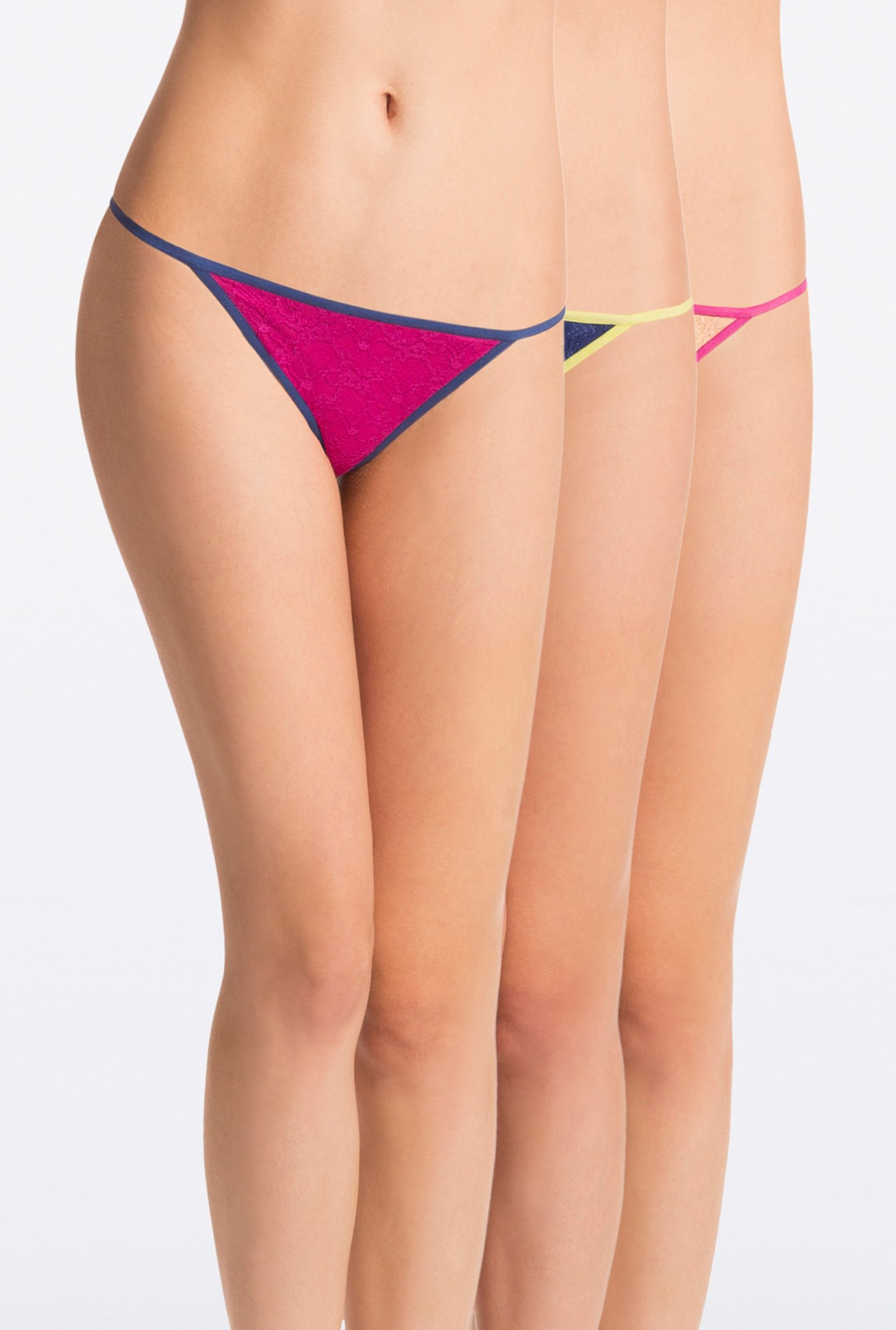 Pretty Secrets G-String Panties (Magenta, Navy & Nude)