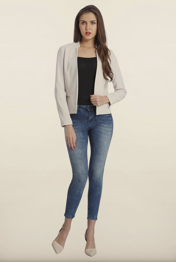 Only Grey Solid Casual Blazer