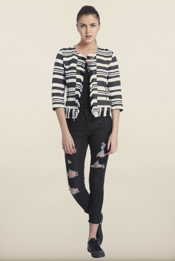 Only White And Black Striped Casual Blazer