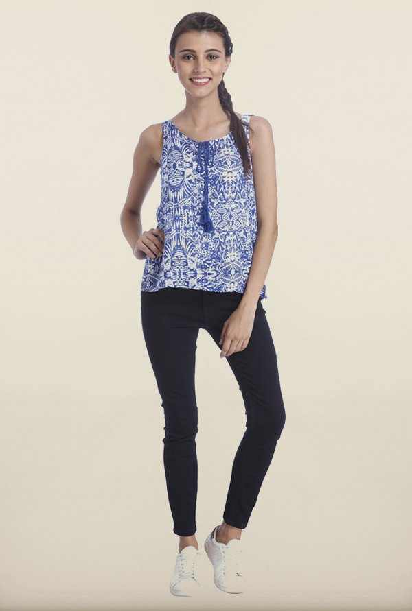 Only Mazarine Blue Printed Top