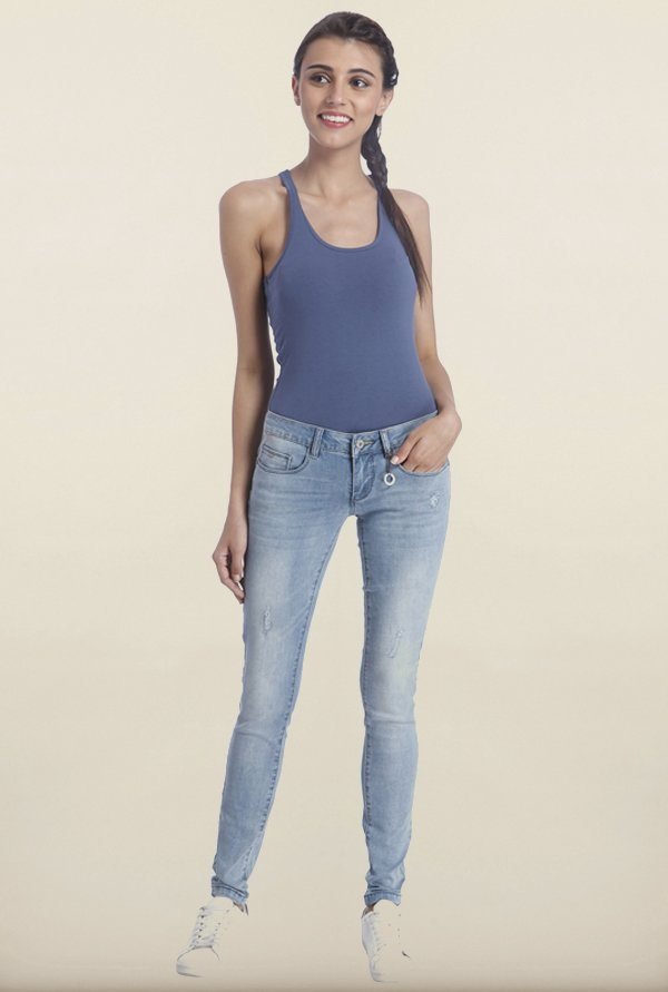 Only Blue Skinny Fit Distressed Jeans