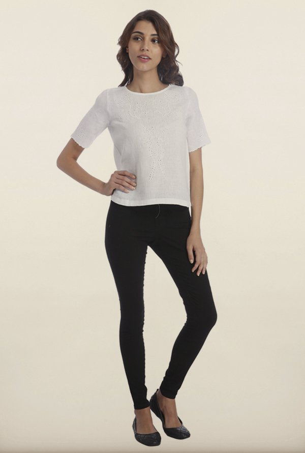 Only White Linen Embroidered Top