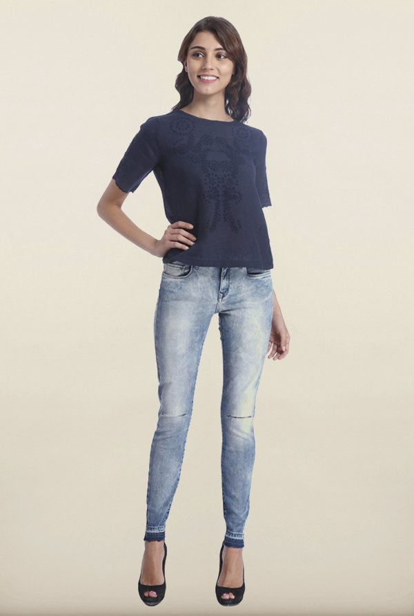 Only Navy Linen Embroidered Top