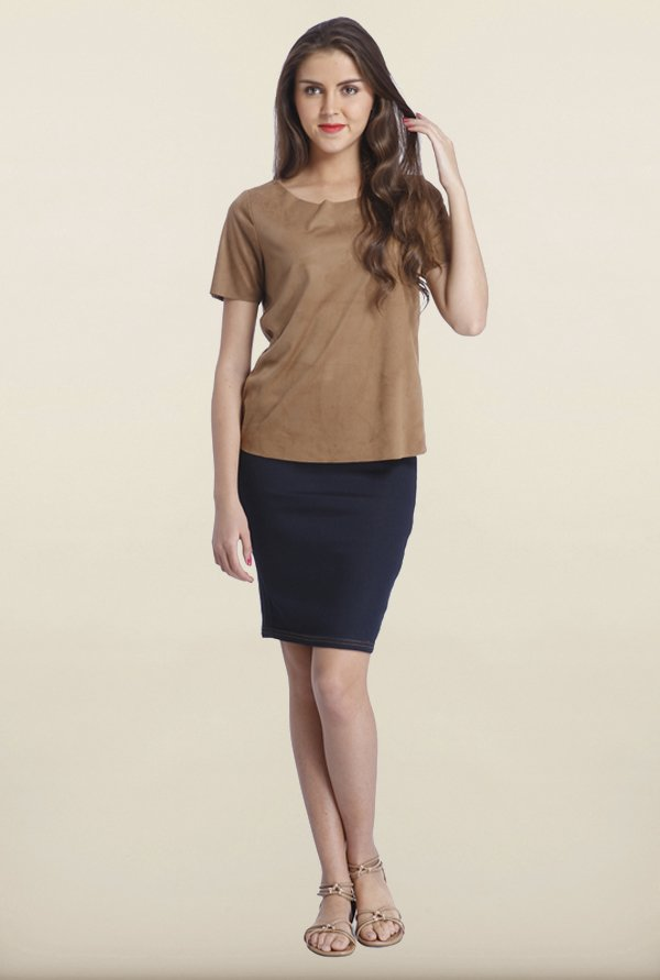 Only Cognac Suede Cropped Top