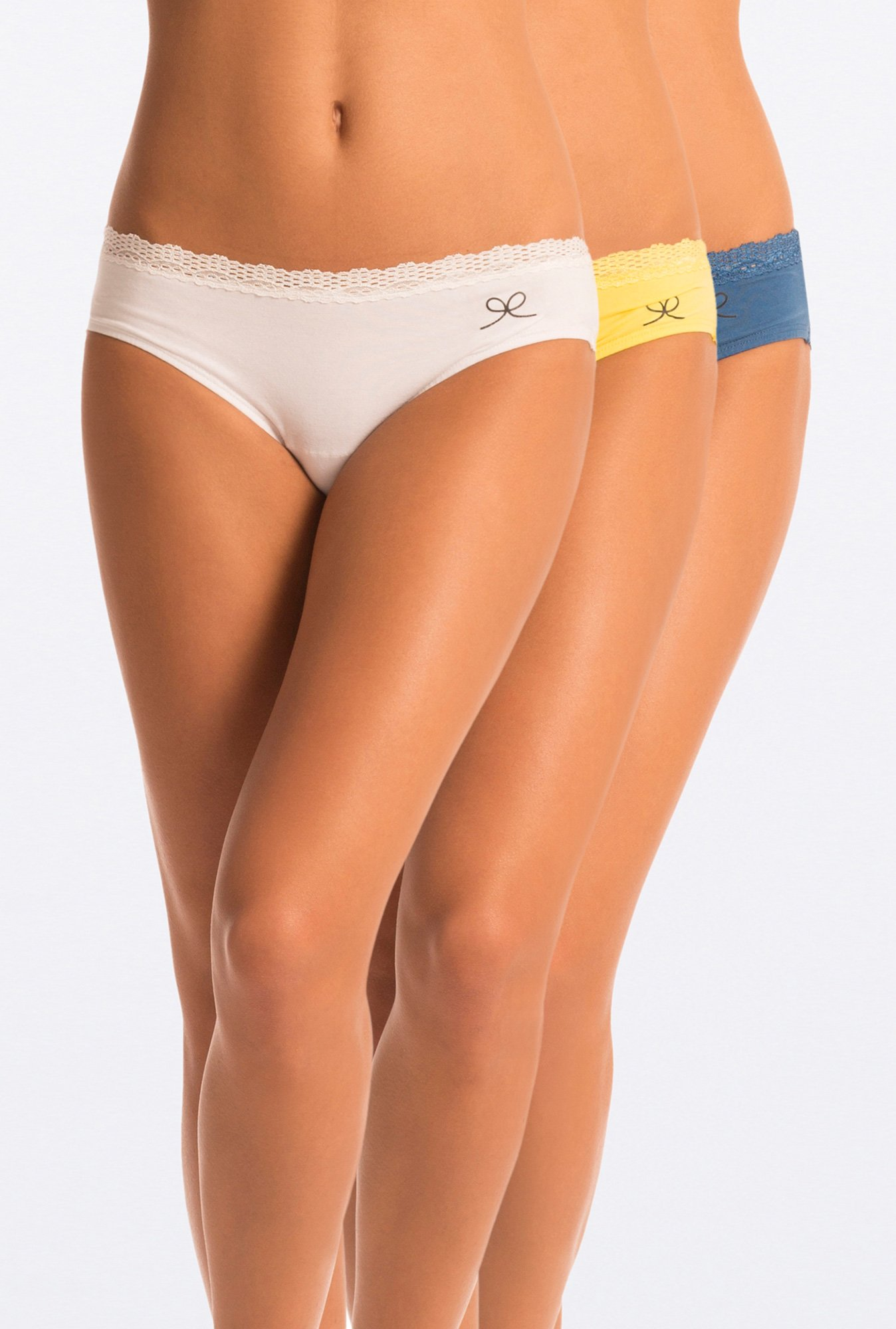 Pretty Secrets Printed Hipster Panties (White,Yellow & Blue)