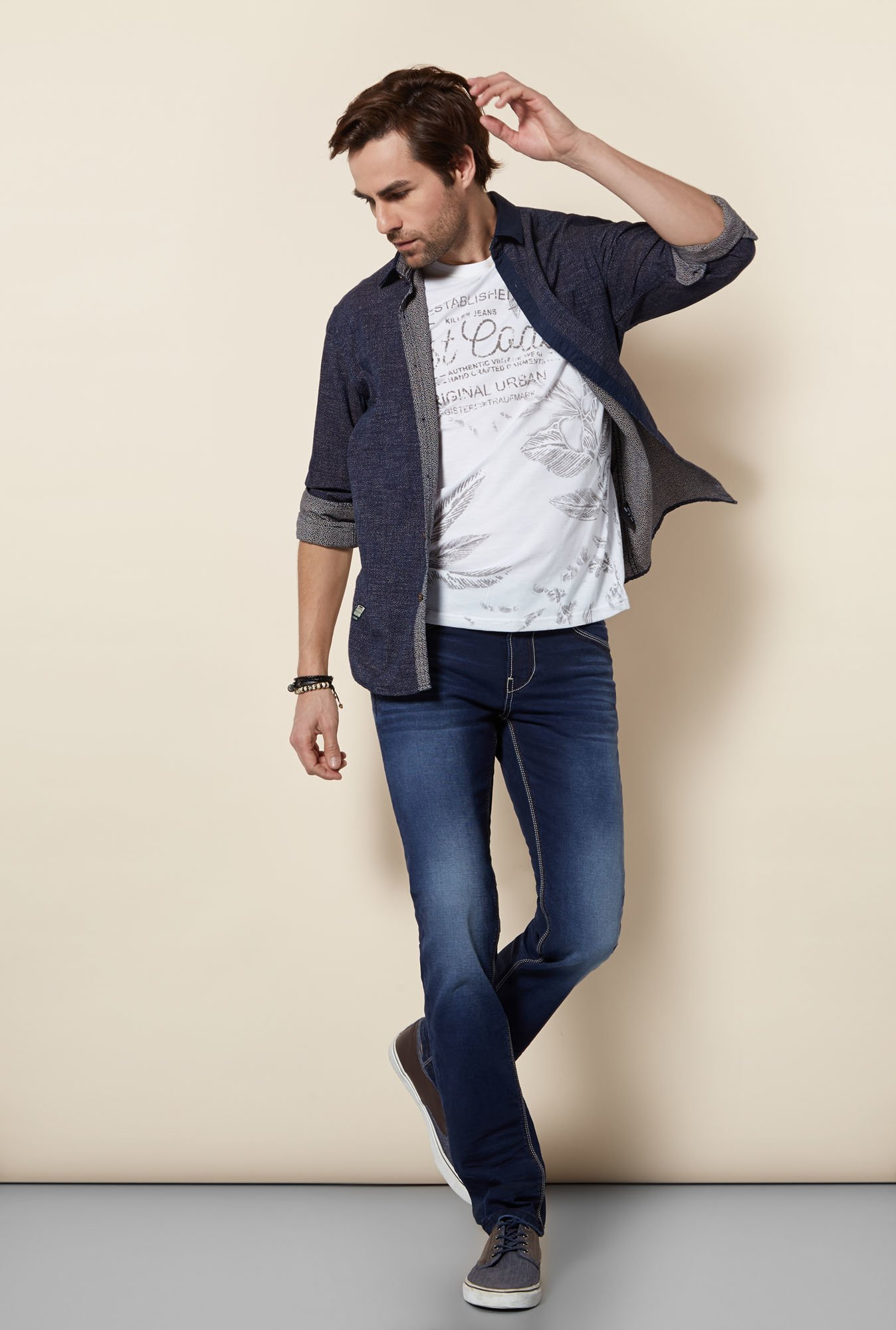 Killer Indigo Slim Fit Casual Shirt