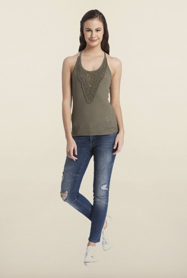 Only Olive Green Embroidered Top