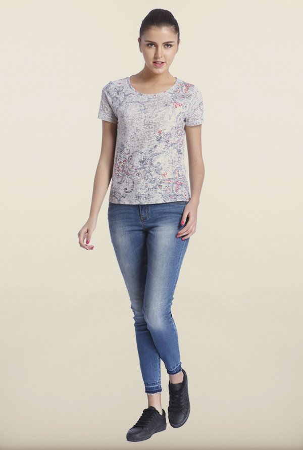 Only Beige Printed T-Shirt