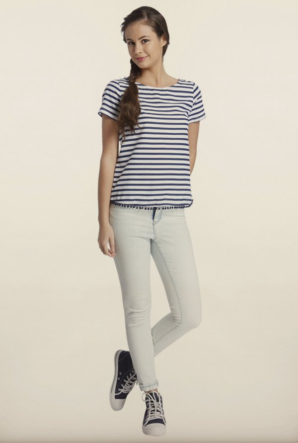 Only White & Navy Striped T-Shirt