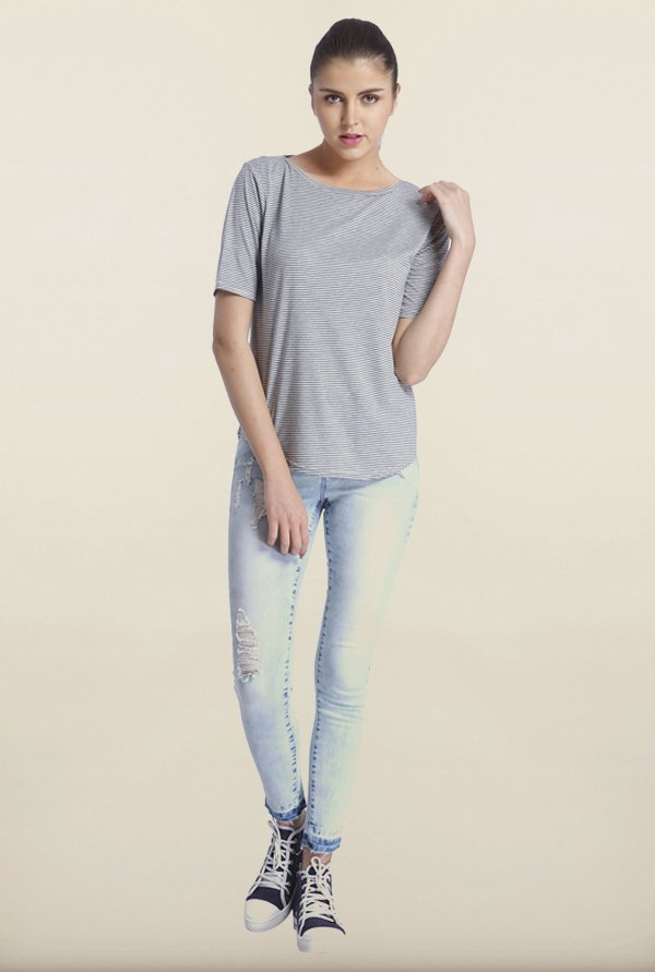 Only Light Grey Striped T-Shirt