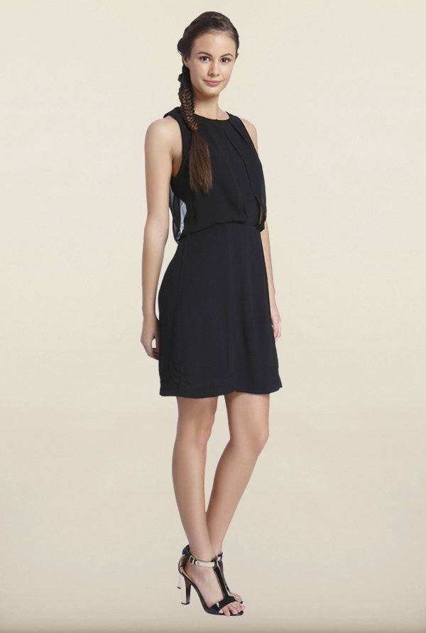 Only Black Solid A Line Dress