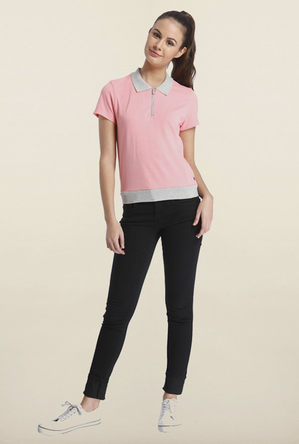 Only Pink Solid T-Shirt