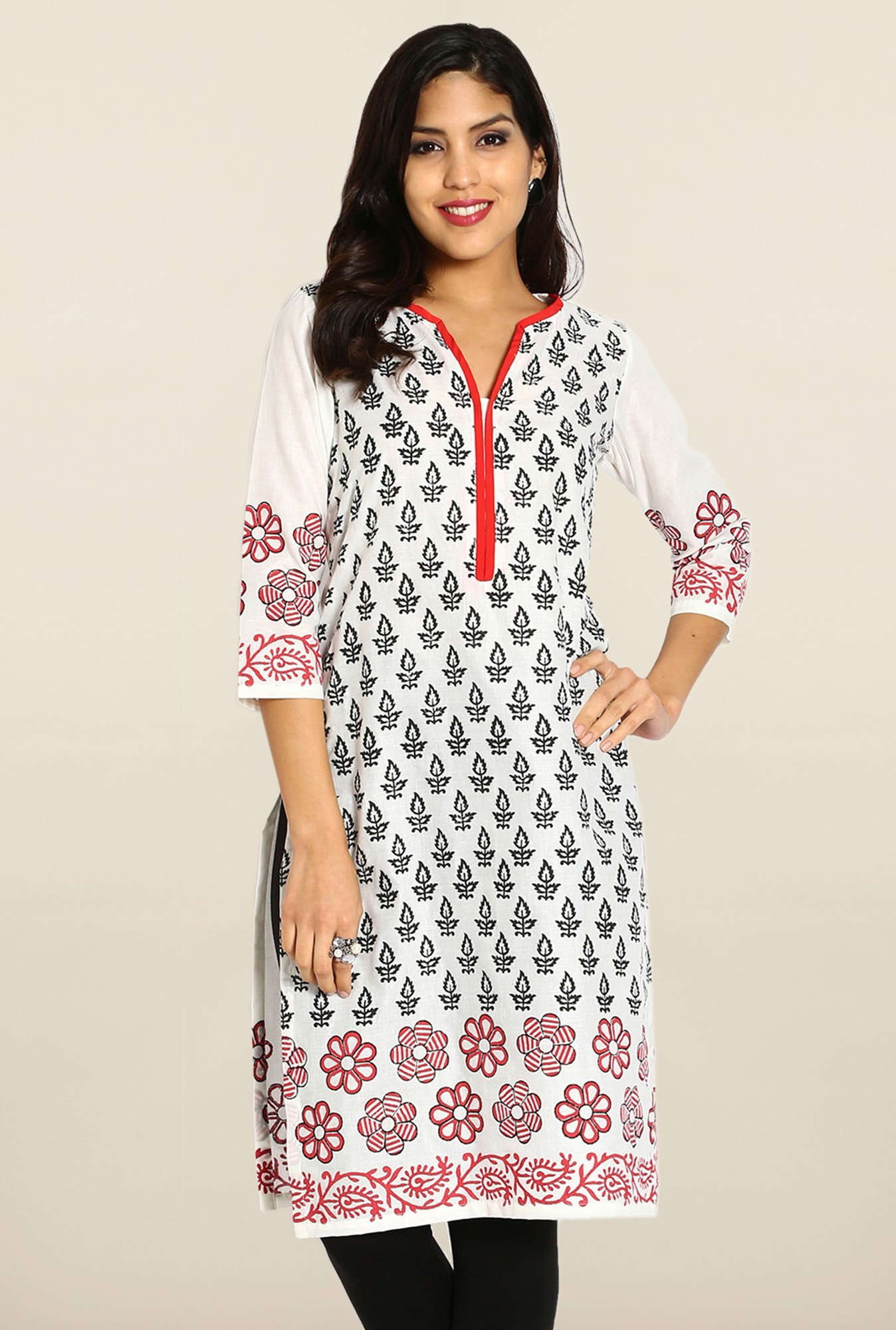 Soch White & Black Cotton Kurta