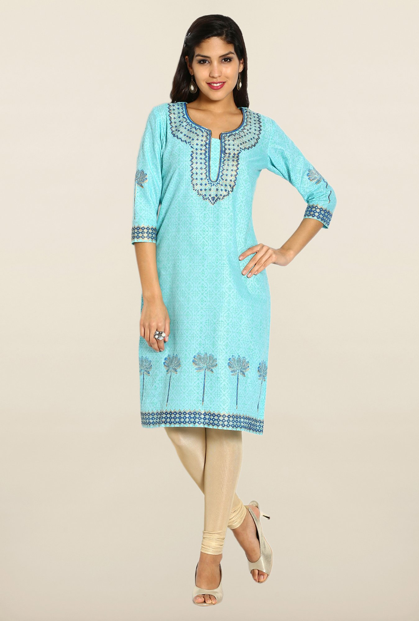 Soch Blue & Green Printed Cotton Kurta
