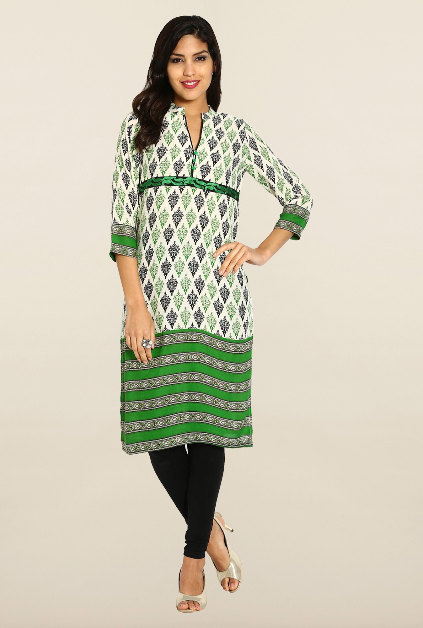 Soch Cream & Green Cotton Kurta