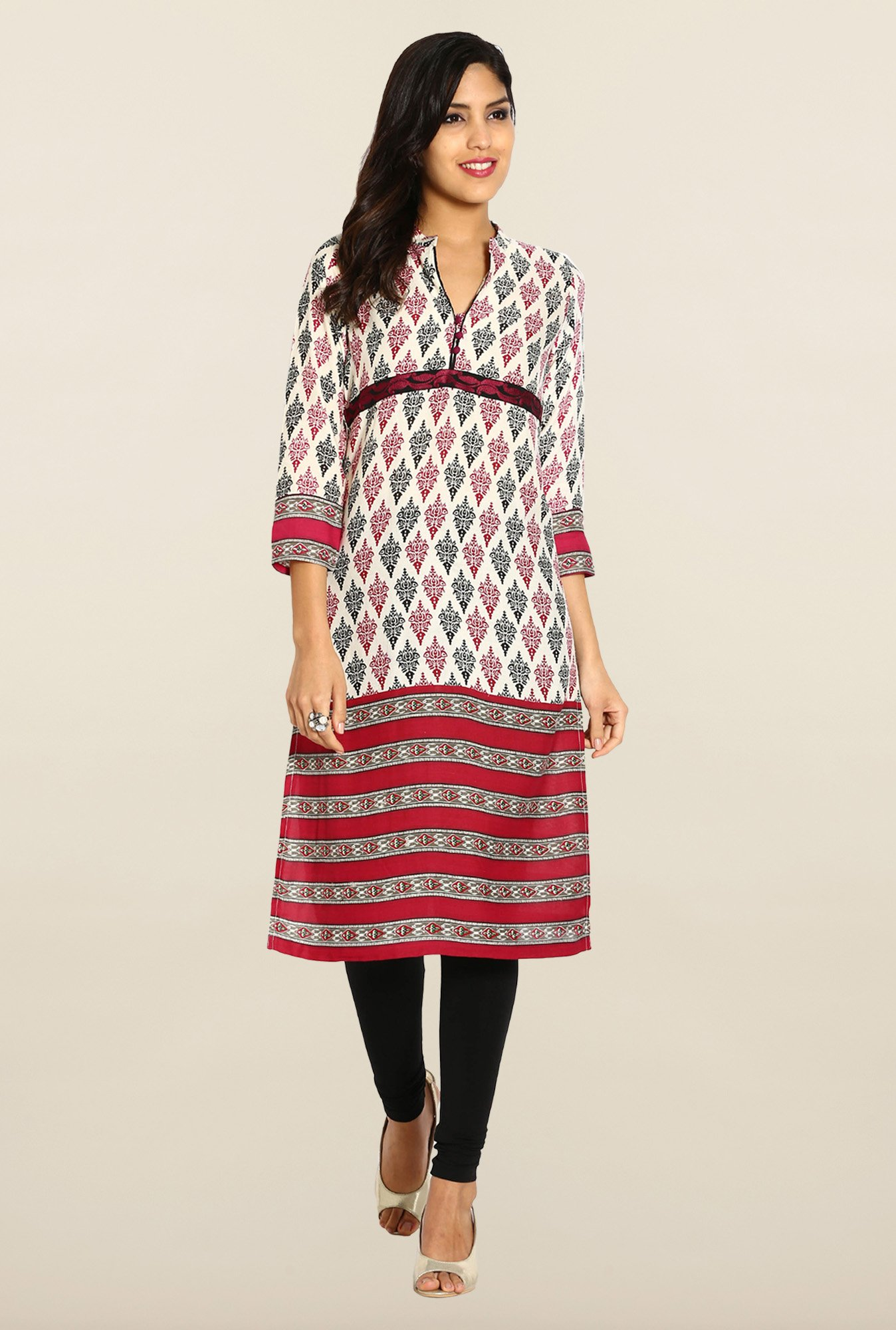 Soch Cream & Maroon Cotton Kurta