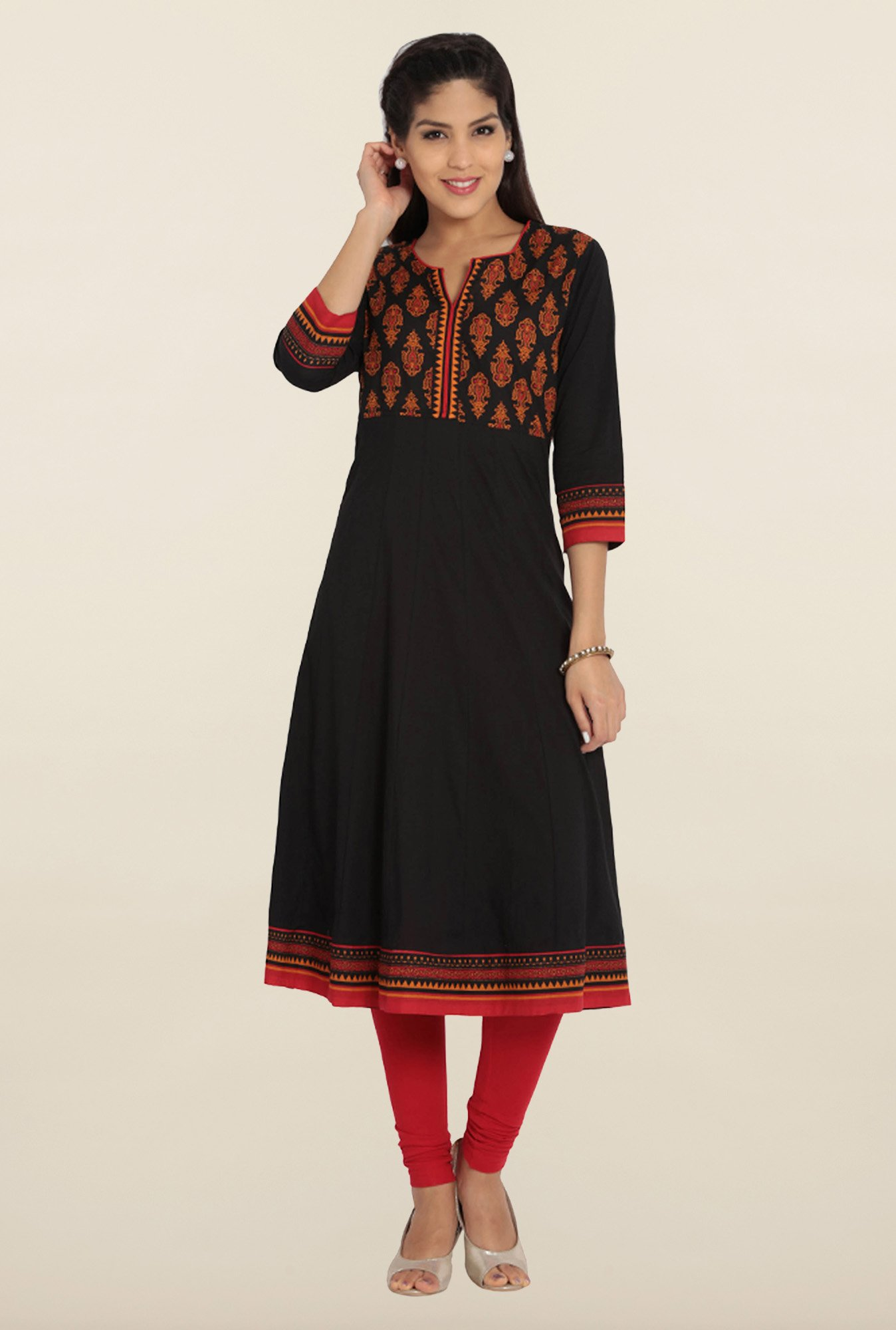 Soch Black Cotton Anarkali Kurta