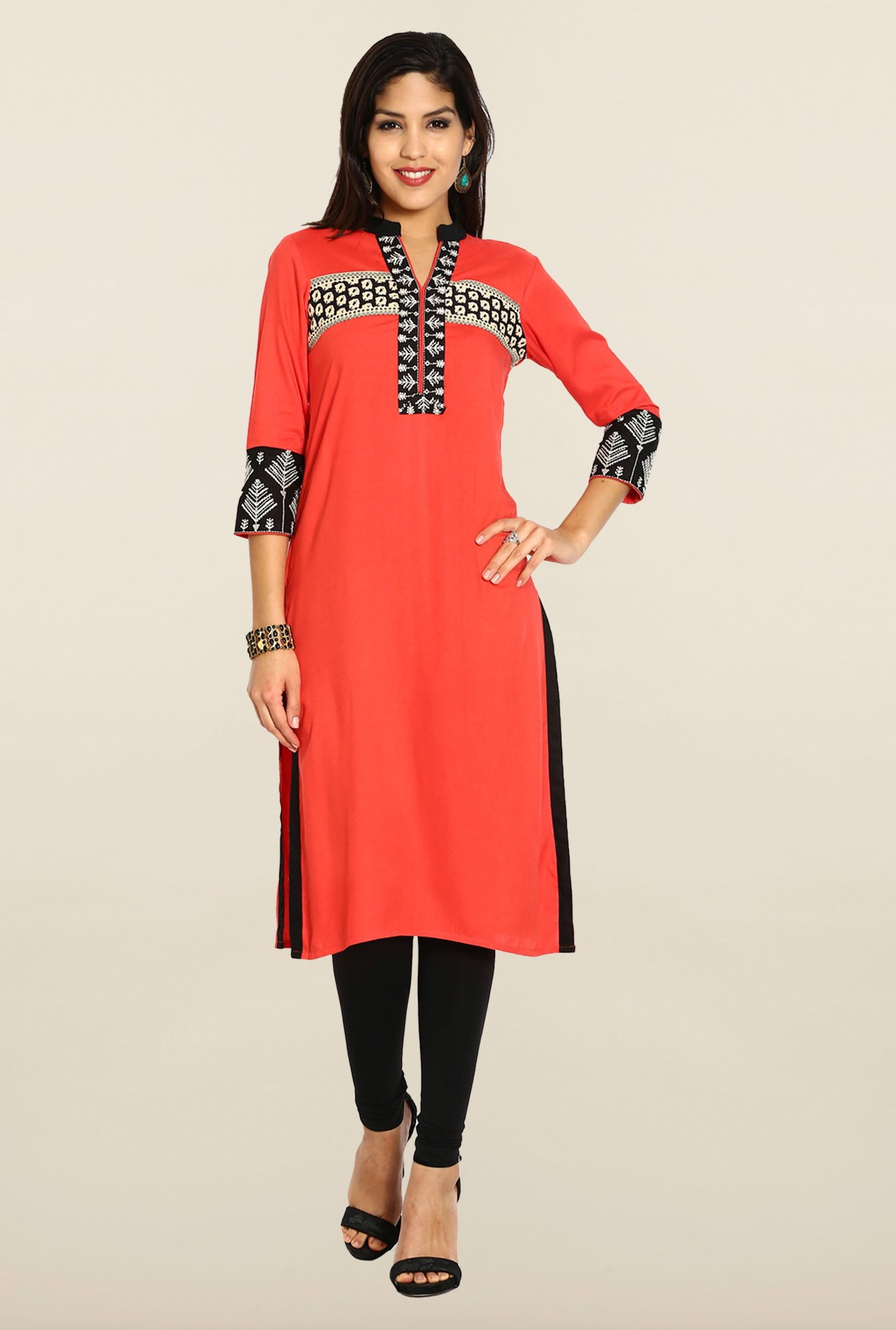 Soch Coral & Black Embroidered Kurta