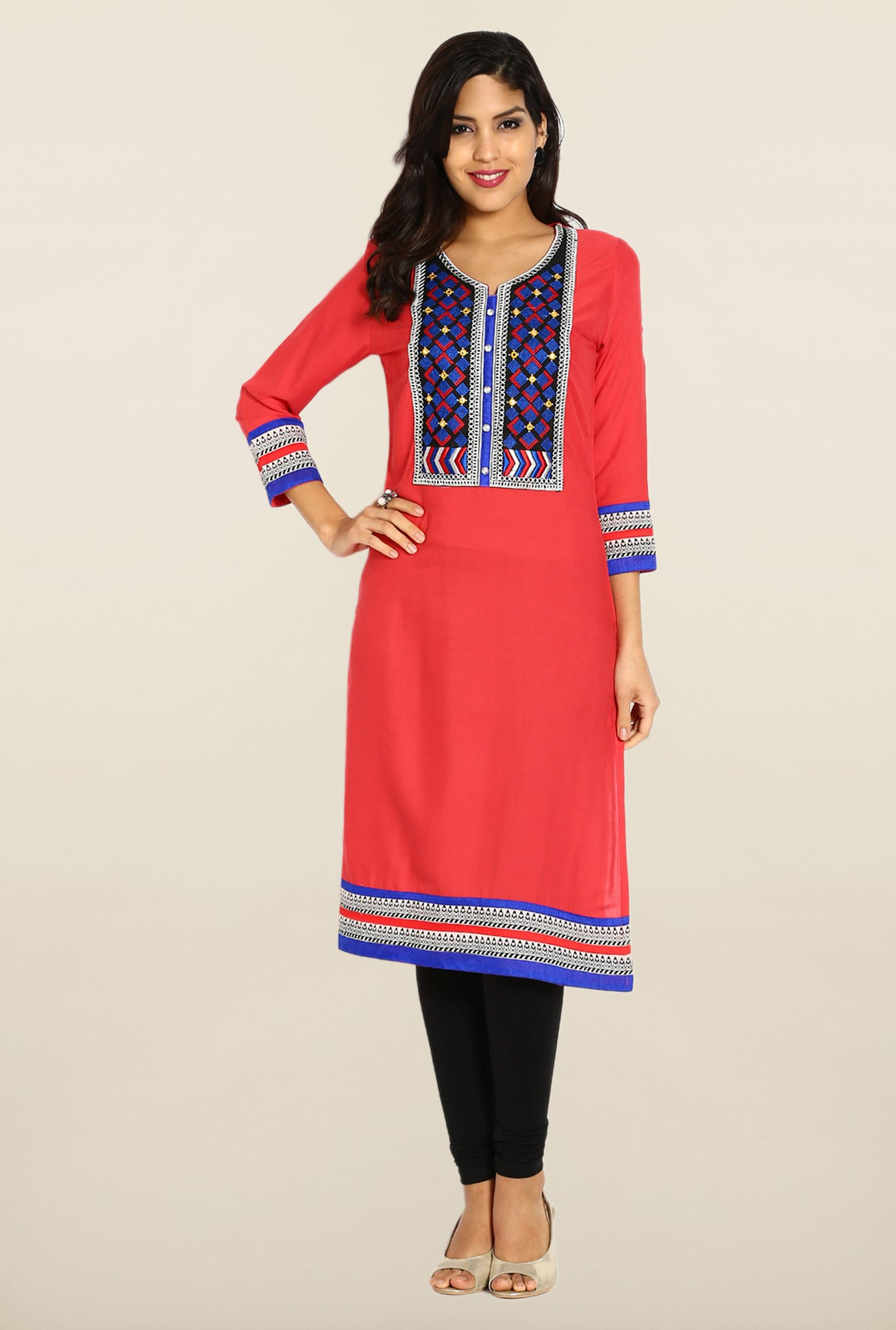 Soch Coral & Blue Embroidered Kurta