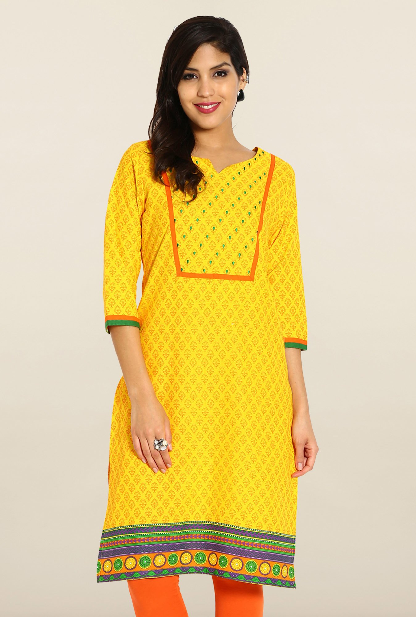 Soch Yellow & Orange Cotton Kurta