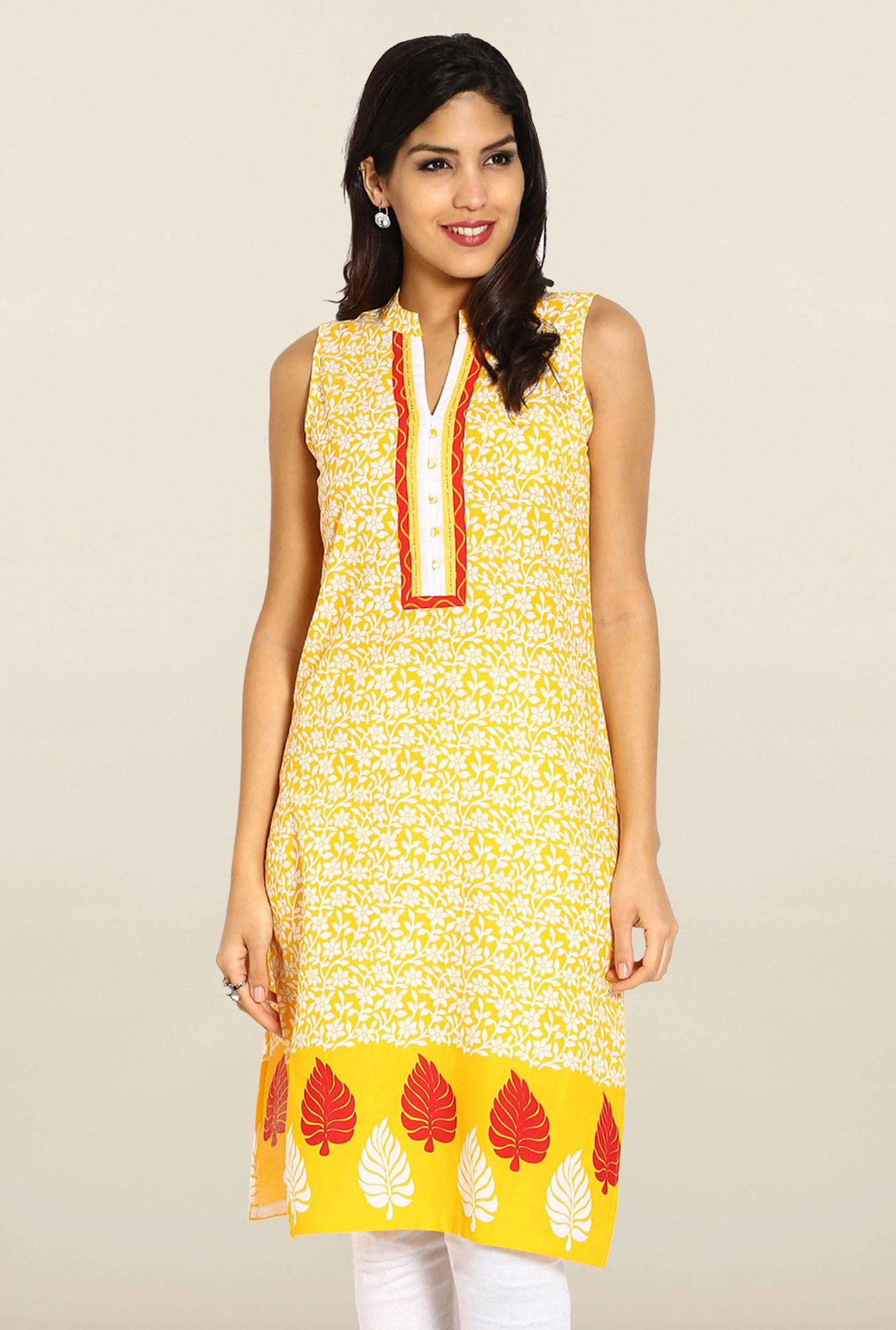 Soch Yellow & White Cotton Kurta