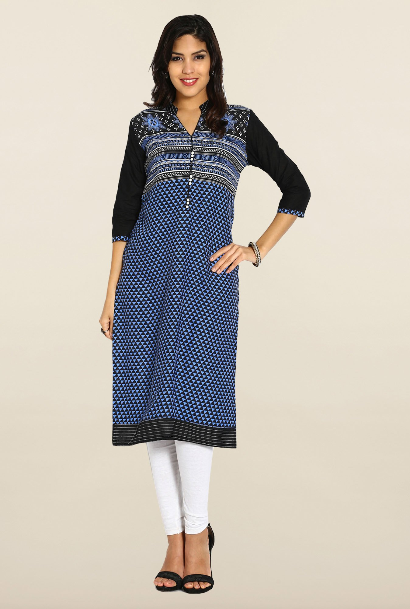 Soch Blue & Black Cotton Kurta