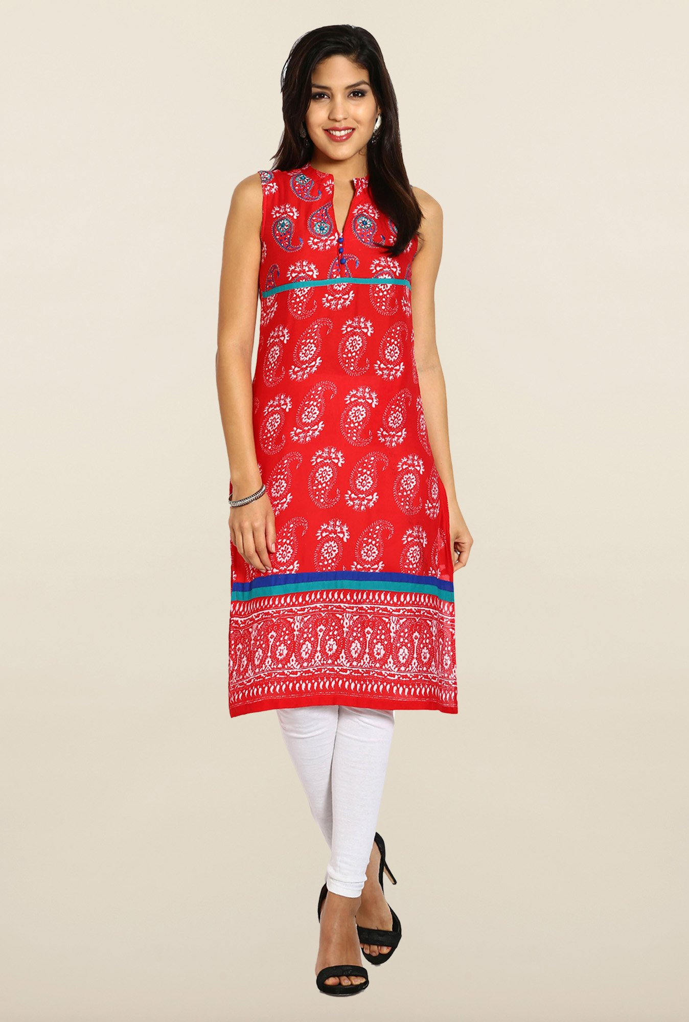 Soch Red & White Embroidered Kurta