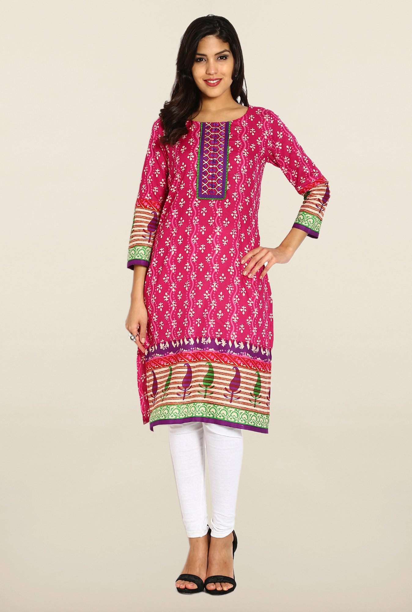 Soch Pink Printed Cotton Kurta