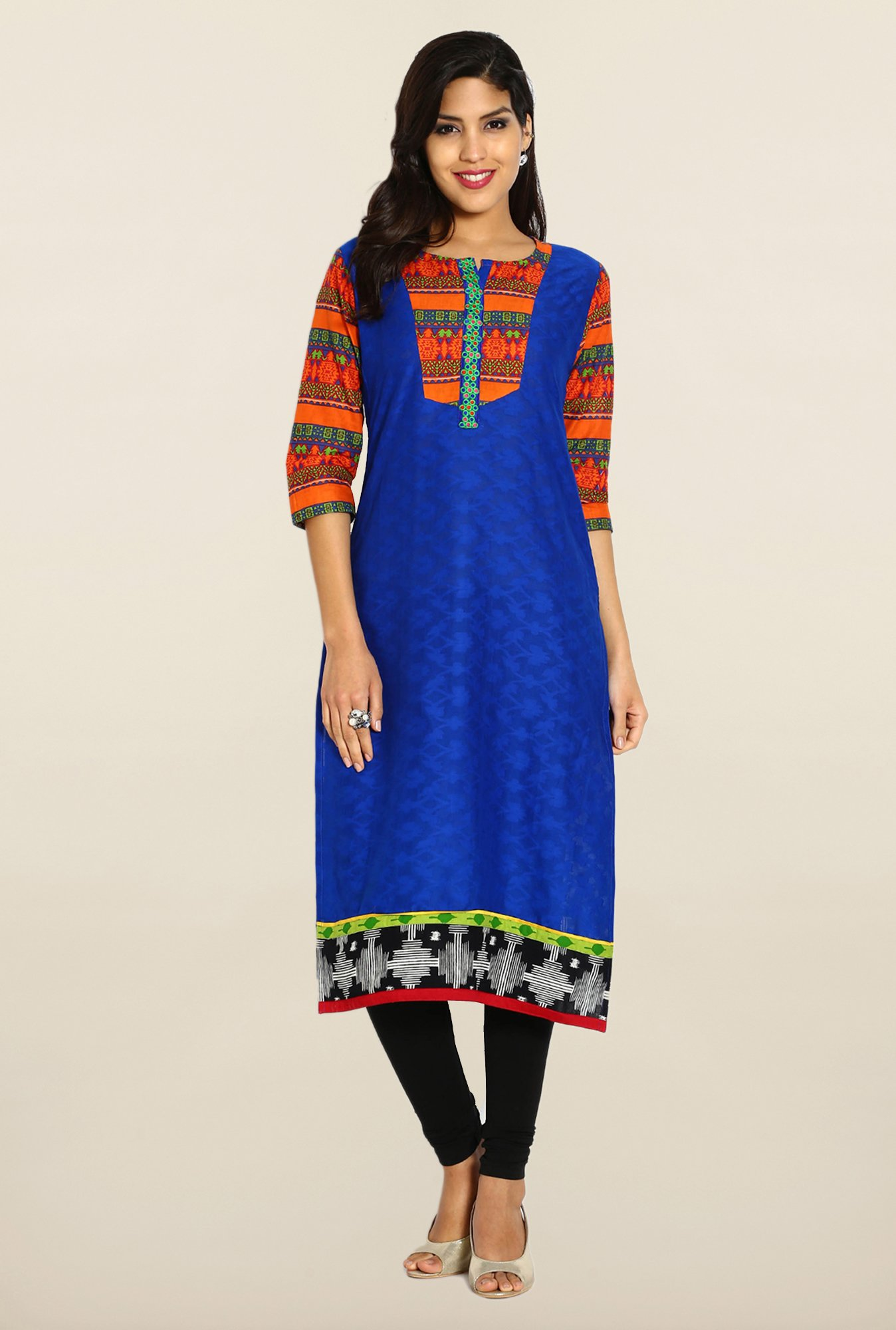 Soch Royal Blue & Orange Cotton Kurta