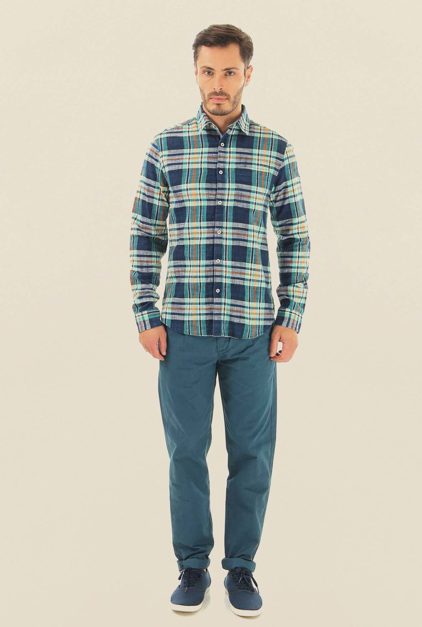 Jack & Jones Green Checks Cotton Shirt