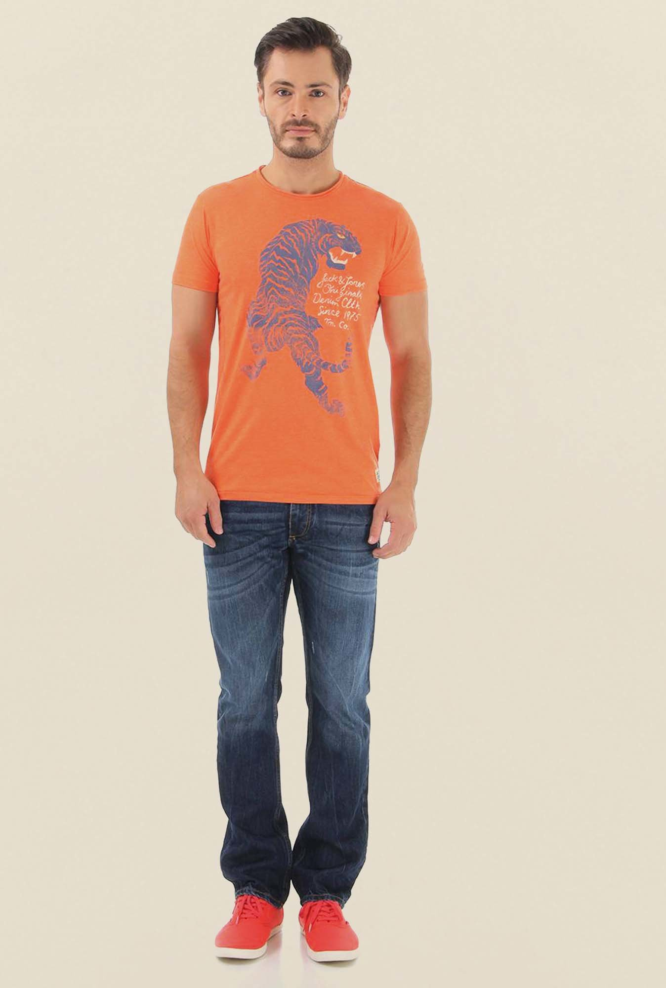Jack & Jones Orange Printed Crew Neck T-Shirt
