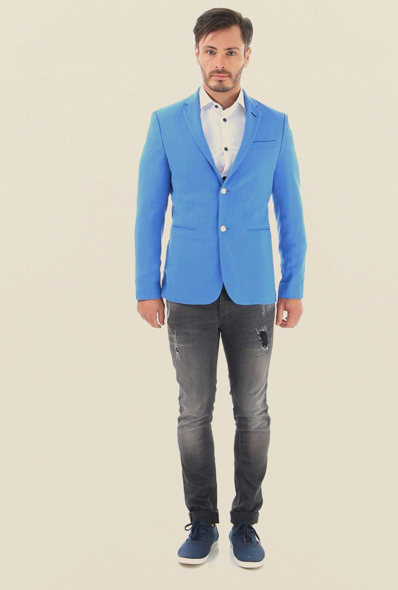 Jack & Jones Blue Solid Casual Blazer