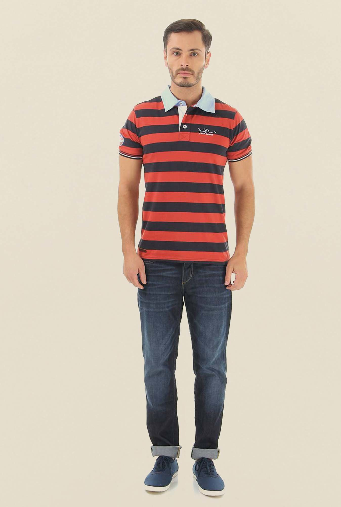 Jack & Jones Red And Black Striped Polo T-Shirt