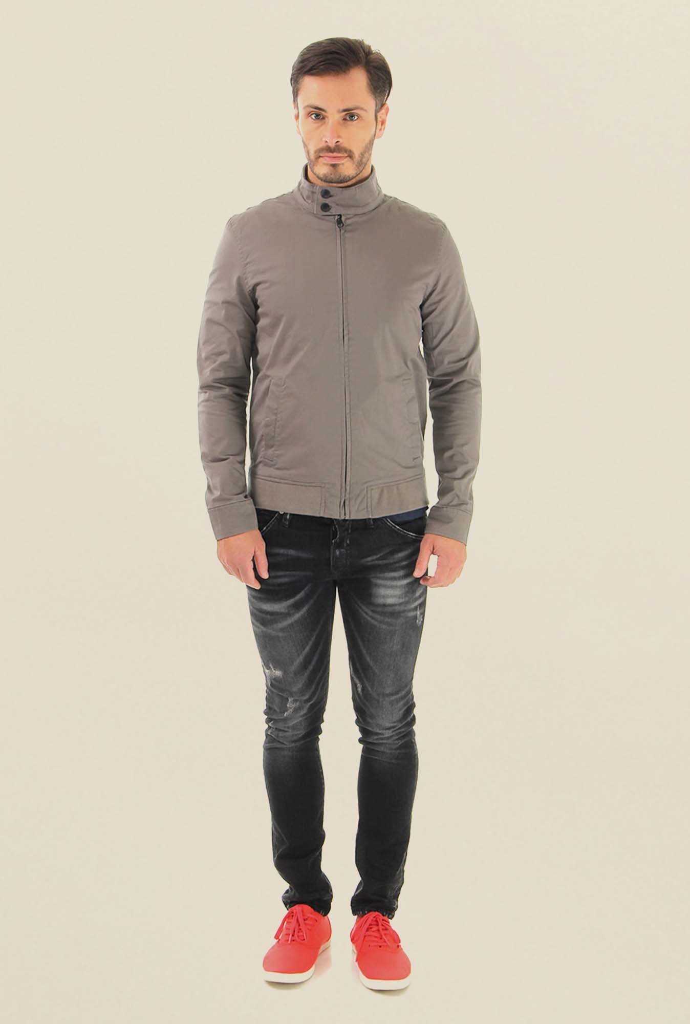 Jack & Jones Grey Melange Leather Casual Jacket