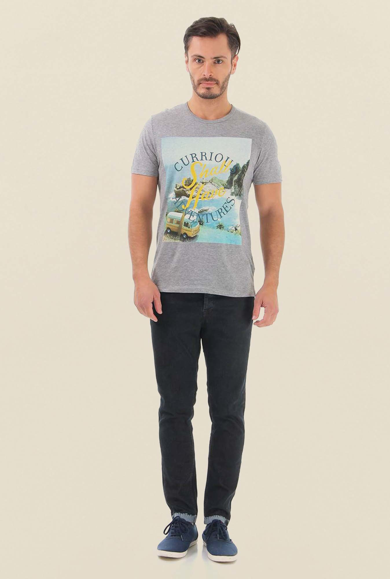 Jack & Jones Light Grey Printed Cotton T-Shirt