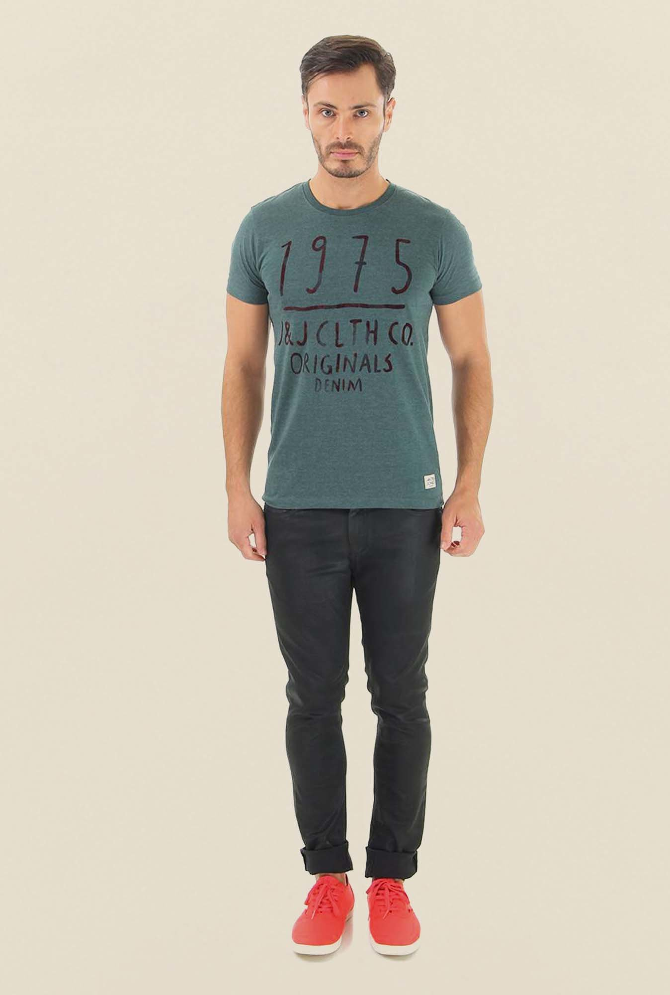Jack & Jones Green Printed Crew Neck T-Shirt