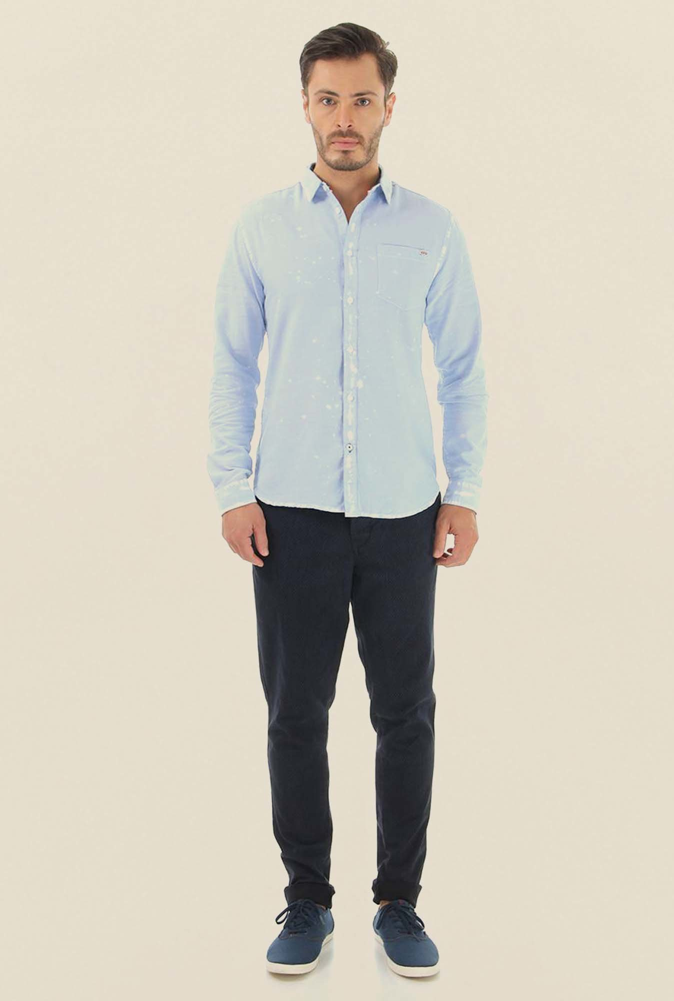 Jack & Jones Light Blue Printed Casual Shirt