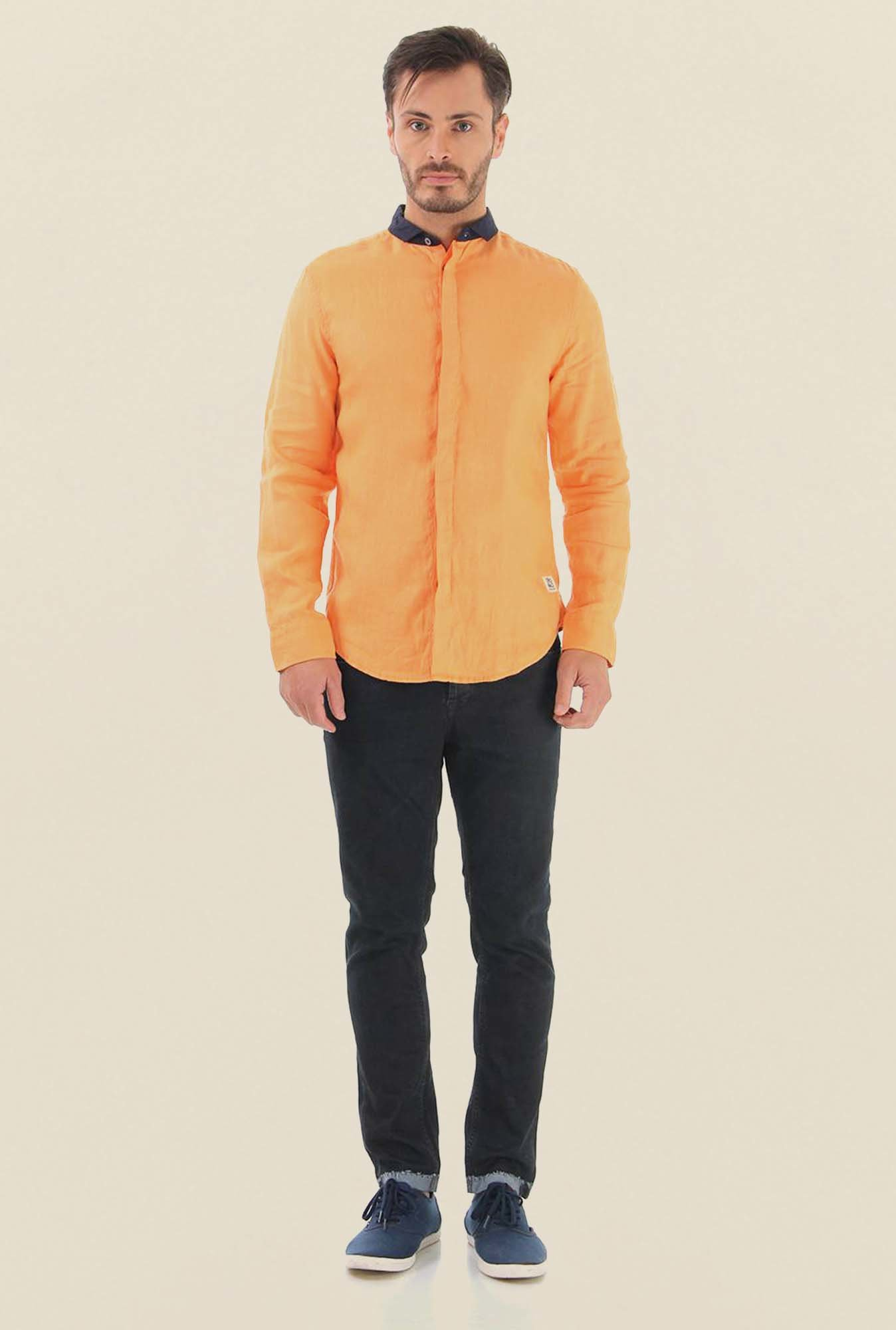 Jack & Jones Orange Solid Cotton Casual Shirt