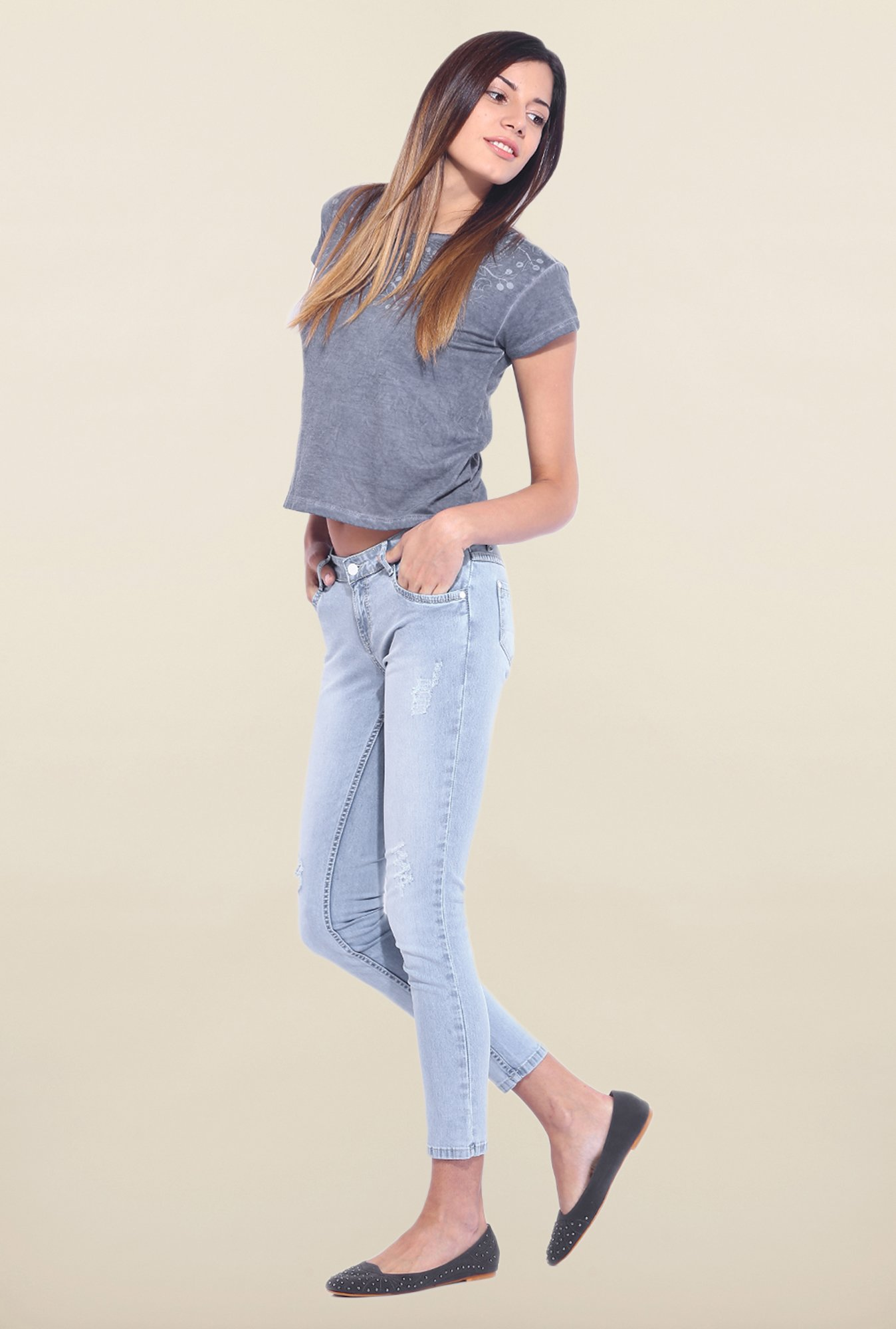 Kraus Light Blue Ankle Length Distressed Jeans